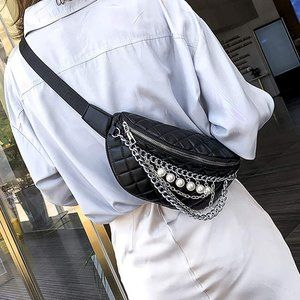 NEW LIZZY FANNY PACK With Pearl Chain, Black